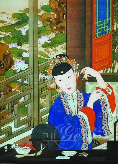 手绘古代女子闺房梳妆
