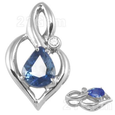 18k白金镶坦桑蓝宝石吊坠